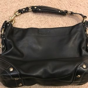 Like new black leather Coach purse